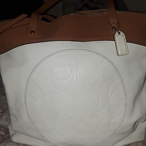 Coach large leather bucket style tote